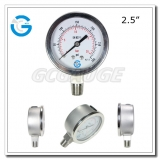 2.5 All stainless steel crimp ring oil filled pressure gauges