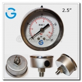 2.5 Stainless steel crimp ring central mount pressure gauges oil