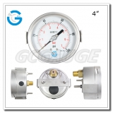 4 inch back connection liquid filled SS case brass internal gauges with u-clamp