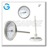 2 inch stainless steel back connection crimped ring industrial bimetallic thermometers