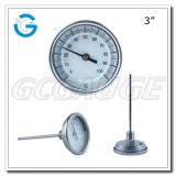 Bimetal industrial temperature thermometers 3 inch dial face with stainless steel back connection