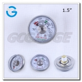 Spiral tube 1.5 inch 3000 psi miniature pressure gauges for fire extinguisher
